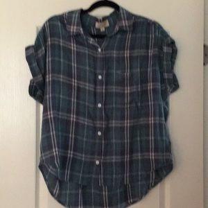 Plaid button up blouse